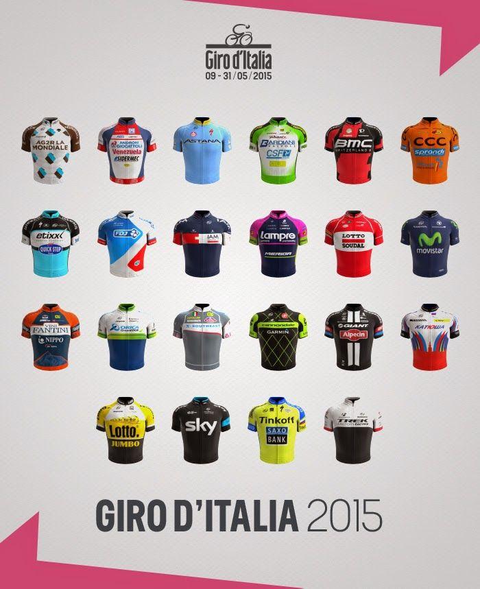 Le maglie delle squadre al Giro d'Italia 2015. Quale vi piace di più?  The teams jerseys at the 2015 Giro d'Italia. Which one do you like best?