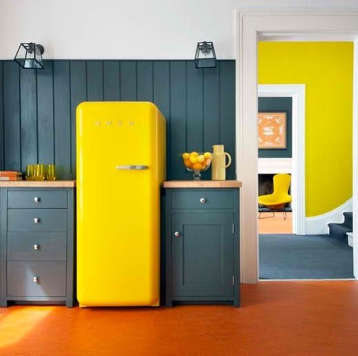 Colorful Fridge and other kitchen appliances. Great!