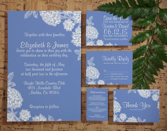 Elegant Cornflower Blue Wedding Invitation by InvitationSnob