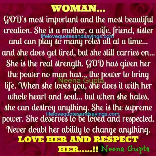 Quotes On Importance Of Women: WOMAN…GOD's Most Important And The Most Beautiful Creation