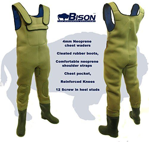 39a7ec3352e Bison NEW 4MM NEOPRENE CHEST WADERS SIZE 13 , 4mm neoprene waders with  cleated soled rubber boots Really comfortable neoprene shoulder straps  straps Chest ...