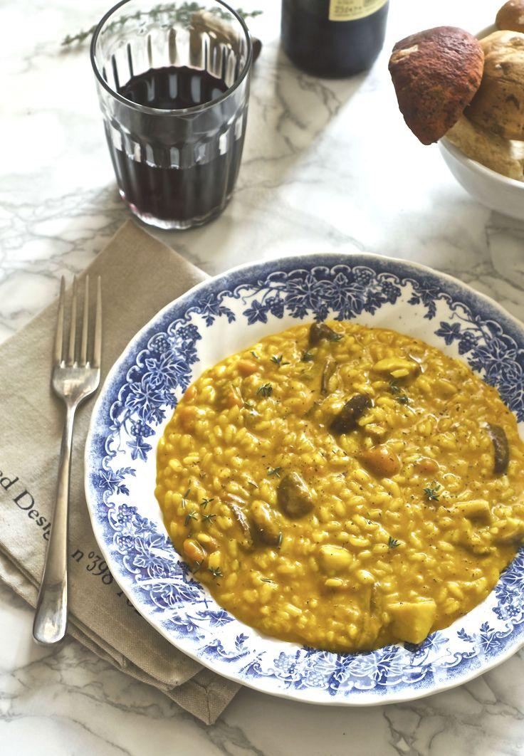 Risotto con zucca e porcini mantecato al taleggio