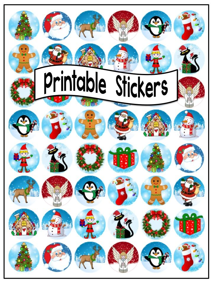 image about Printable Christmas Stickers called Xmas Stickers In direction of Print Merry Xmas And Joyful Fresh new