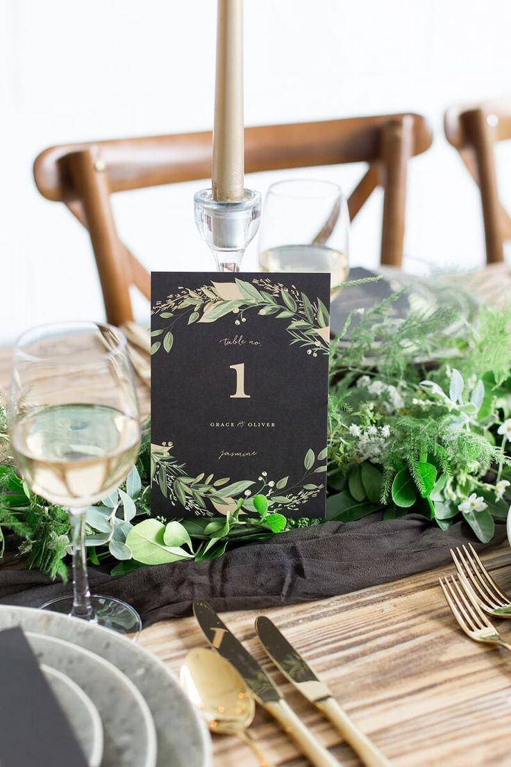 Luxe Black and Greenery Wedding table number
