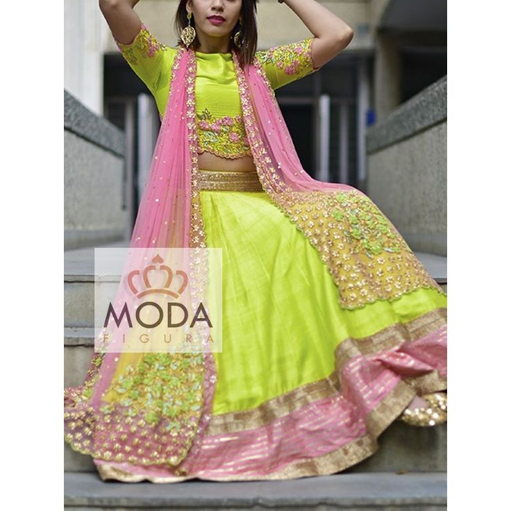 Lime and pink raw silk A-line designer lehenga