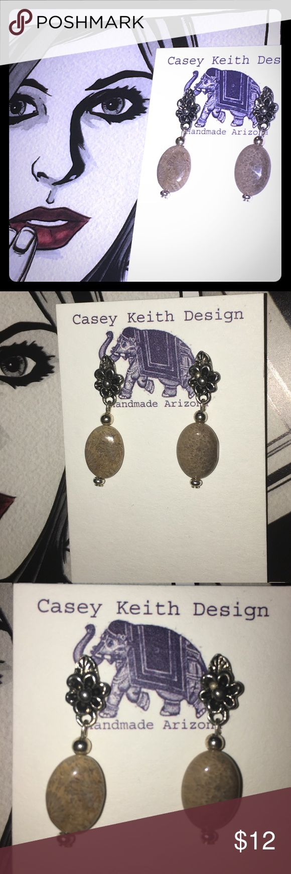 "Ocean Blossom Earrings Polished ocean Jasper (fossilized coral) hangs tight to the lobe off of floral silver plated post earring. A charming way to show your support & reverence for ocean coral by wearing it in fossilized form on your ears. 1"" drop. Purchase includes Artists signature gift packaging. Casey Keith Design Jewelry Earrings"