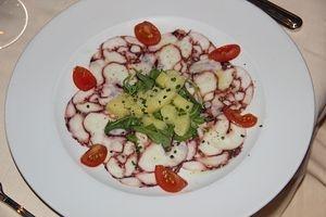 Carpaccio di Polpo con Patate al Vapore e Vinaigrette allo Champagne (Octopus Carpaccio with Champagne Vinaigrette and Warm Potato Salad)