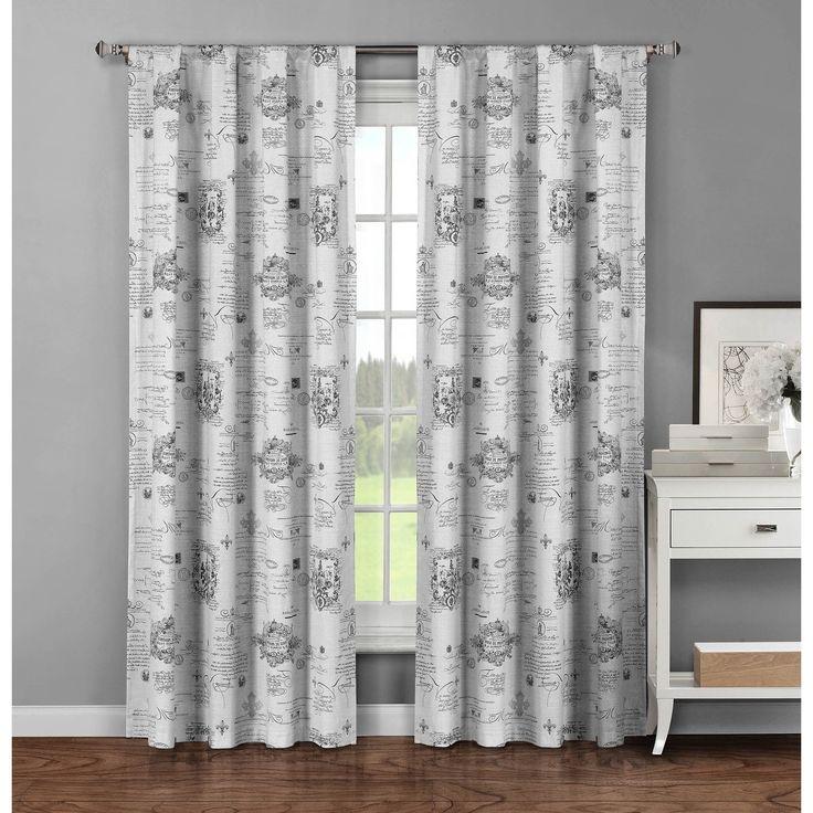 Window Elements Fleur De Lis Cotton 96-inch Extra-wide Rod Pocket Curtain Panels