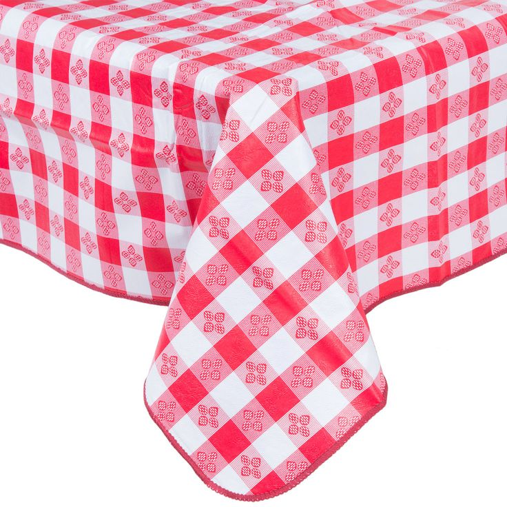 """This 52"""" x 70"""" red gingham vinyl table cover is a great solution for picnics and catered events. The vinyl outer layer resists tearing and damage from spills while its flannel back adds weight to keep the table cover in place as well as protect the table top from scratches. Ideal for diners, drive-ins, porch cafes and other outdoor or specialty restaurants, this 52"""" x 70"""" gingham table cover is the perfect size for 36"""" x 54"""" table tops. Providing a longer life than disposable table covers…"""