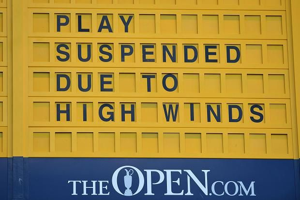 Play has been suspended on the third day of the Open at St Andrews after just 32 minutes of action was possible this morning because of high winds. Heavy rain yesterday caused a delay that meant 42 players - including Dustin Johnson, the leader - returned to the links this morning still needing to finish their second round. However, gusts of up to 45mph rendered conditions virtually unplayable. Johnson, returning to his overnight position at the front of the 14th green, saw his ball blown…