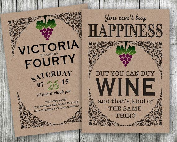 sample printable wine birthday party invitation by vginvites
