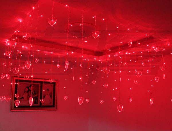 3.5m 96 LED String Fairy Lights Wedding Christmas Lights 16 Hearts Cortina De LED Curtain Party Decoration Lamp luzes para festa #Affiliate