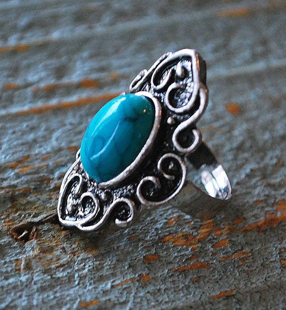 Turquoise Gemstone Silver Plated Ring by BeautyandStones on Etsy, $20.00
