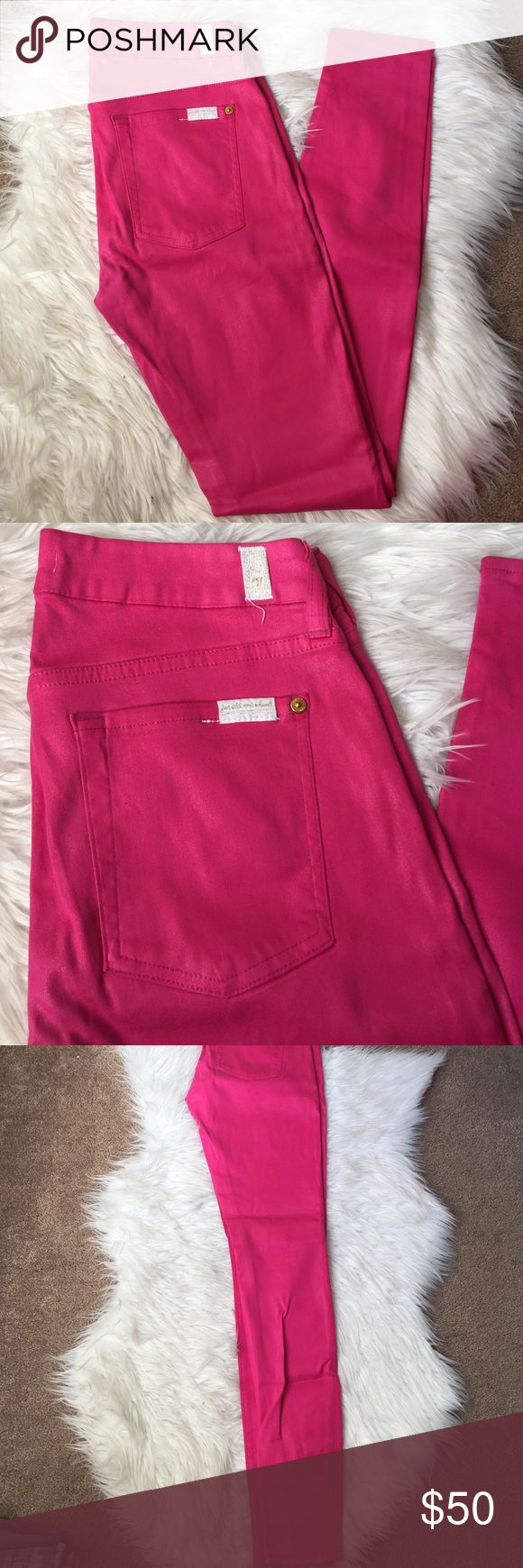 7 For All Mankind Wax Coated Skinny Jeans Pink skinny jean with a wax coating for a leather looking effect. Worn once! Great for spring! 7 For All Mankind Jeans Skinny