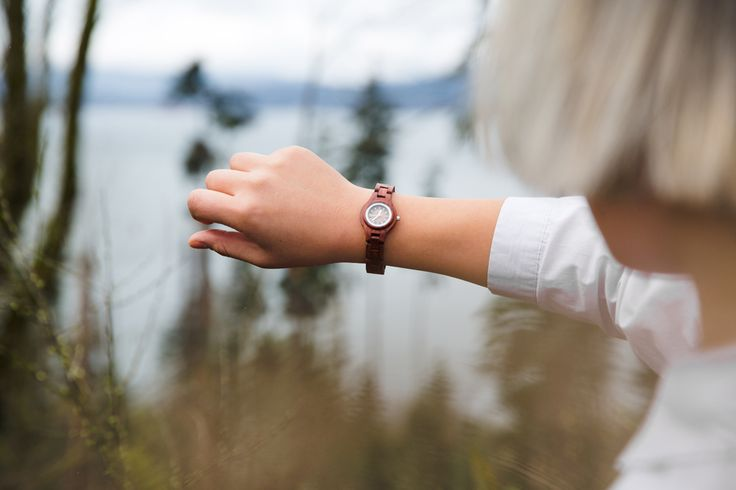This women's wood watch shows hourly markers on a round face. The Mini Pacific Watch is made from 100% recycled and reclaimed wood, with stainless steel crown and clasp. All Tense Watch pieces are hyp