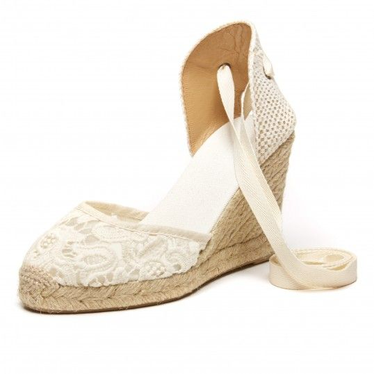 Soludos Ivory Tulip Lace Tall Wedge for Women - Soludos Espadrilles