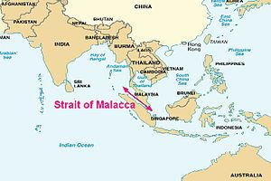 This is the location of Malacca trading post where all the merchants come and leave content.
