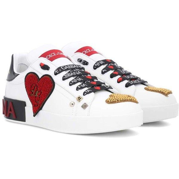 Gabbana Embellished Leather Sneakers