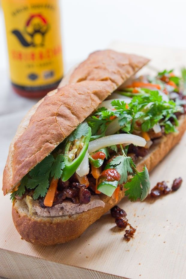 Crisp on the outside, pillowy in the middle, this Vietnamese banh mi is loaded with pickled vegetables, chiles, cilantro and sweet and savory Chinese barbecued pork.