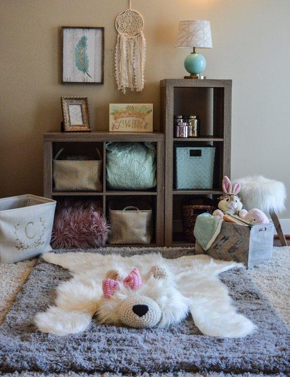 XL Polar Bear Rug / Faux Bear Rug / woodland nursery / Baby