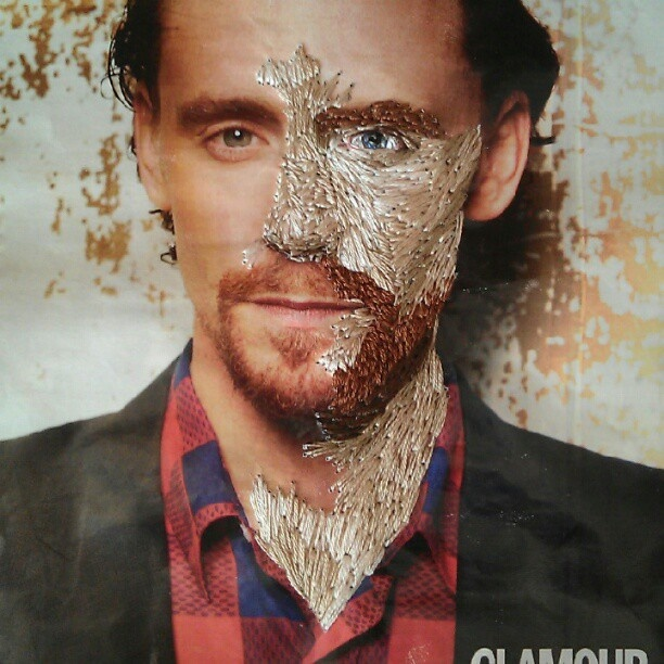 Inge Jacobsen: Tom Hiddleston photographed by Max Vadukul, found in Glamour Magazine UK and stitched over.