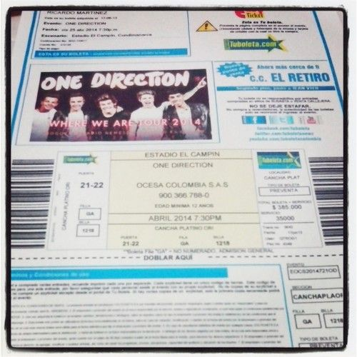 One DIrection ticket? adfghjkl yes<33 Happiest person in the entire world