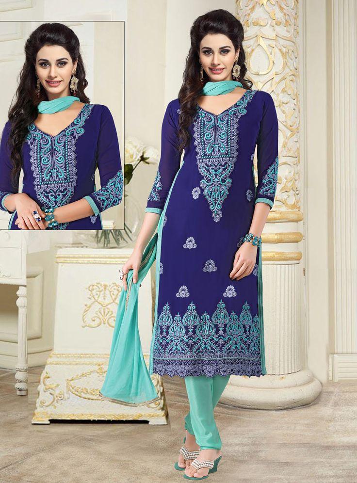 Navy Blue Cotton Kameez With Churidar 89030