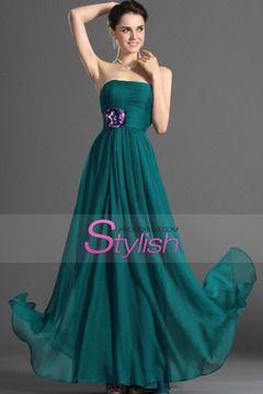 2015 Strapless A Line Prom Dress Chiffon Pleated Bodice With Handmade Flower $ 119.99 STPB56RT3J - StylishPromDress.com