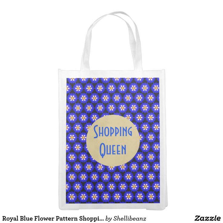 Royal Blue Flower Pattern Shopping Queen