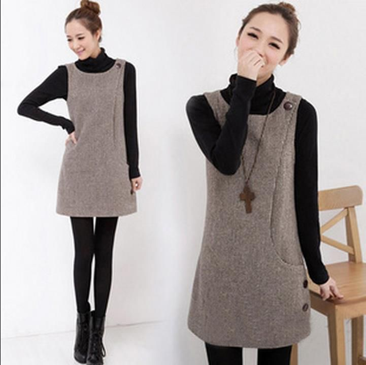 Sundress Women New Woolen Korean Sweet Plus Size Dress Slim Houndstooth Sweet Dresses Ladies Casual Winter clothes
