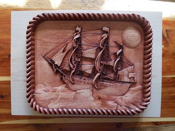Nautical decor sail boat wood carving vintage victory