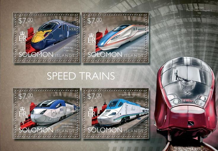 Post stamp Solomon Islands SLM 14503 a	Speed trains (British Rail Class 395, W7 Series Shinkansen, Japan, KTX-Sancheon, South Korea, Hi-speed train Afrosiyab, Uzbekistan)