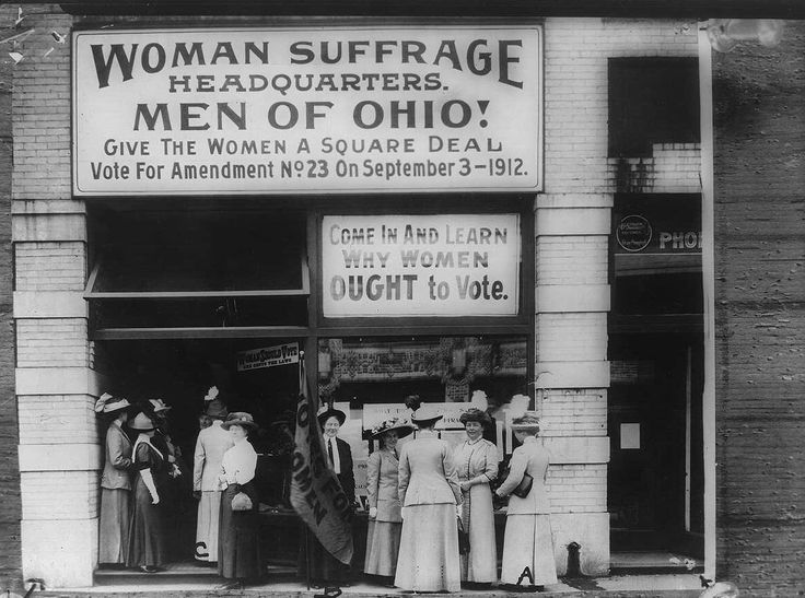 Woman suffrage headquarters in Upper Euclid Avenue, Cleveland--A. (at  extreme right) is Miss Belle Sherwin, President, National League of Women  Voters; ...