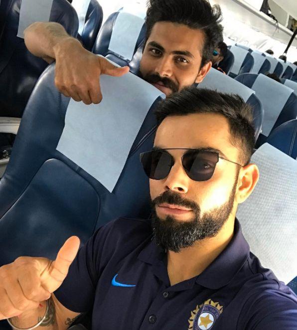 Ravindrasinh Jadeja and Virat Kohli on the way to #Dharamshala for 4th Test against #AUS. #Cricket - http://ift.tt/1ZZ3e4d