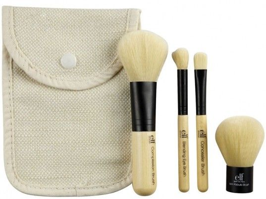 Comprising a complexion brush, a concealer brush, a blending eye brush, and a mini Kabuki brush, E.L.F.'s four-piece set features recycled-aluminum ferrules, ergonomic bamboo handles, and 100 percent cruelty-free Taklon bristles