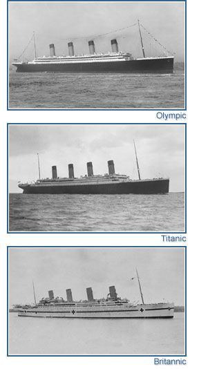 The White Star Line Olympic Class Trio; RMS Olympic, RMS Titanic & HMHS Britannic.