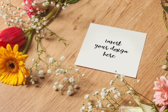 Square Greeting Card Mockup With Flowers by JeanBalogh on Etsy