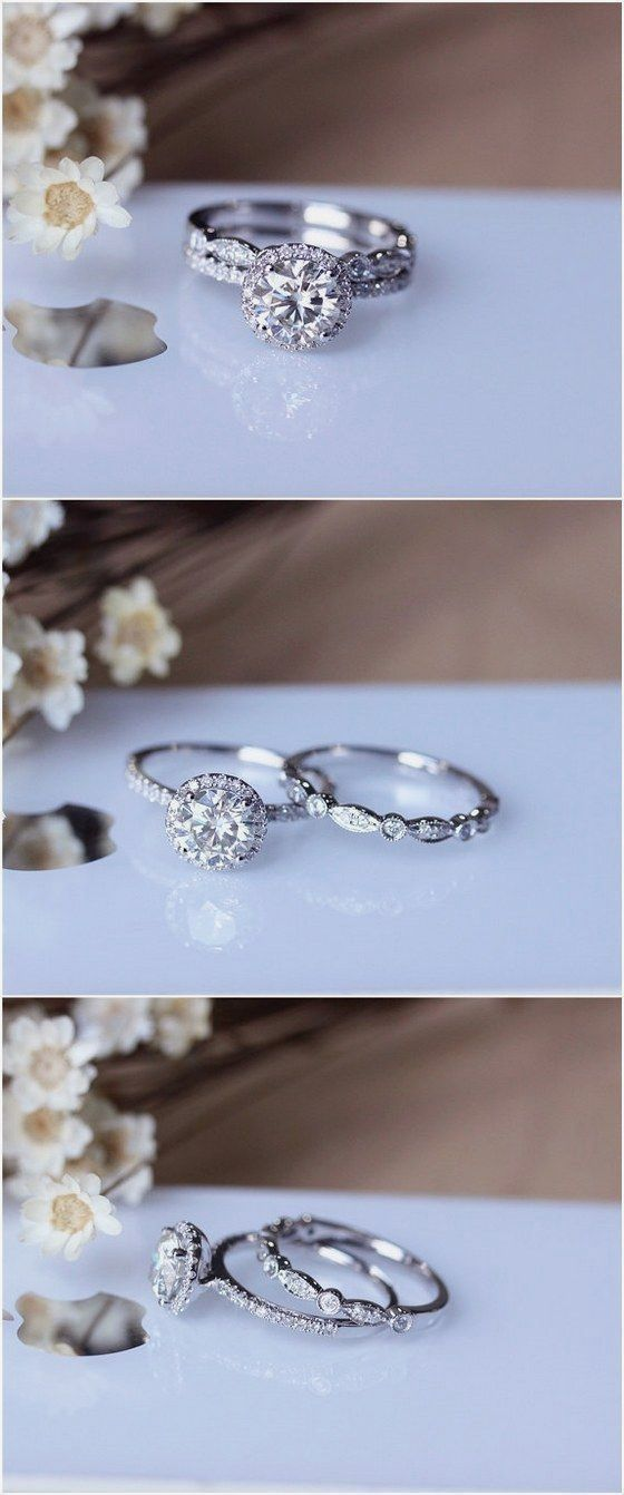 1ct Brilliant Moissanite Engagement Ring Set Solid 14K White Gold Wedding Ring Set Moissanite Ring Set / http://www.deerpearlflowers.com/engagement-rings-from-etsy/ #moissaniterings