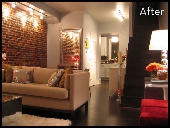 Jaw Dropping Row House Makeover. Exposed Brick WallsBasement ...