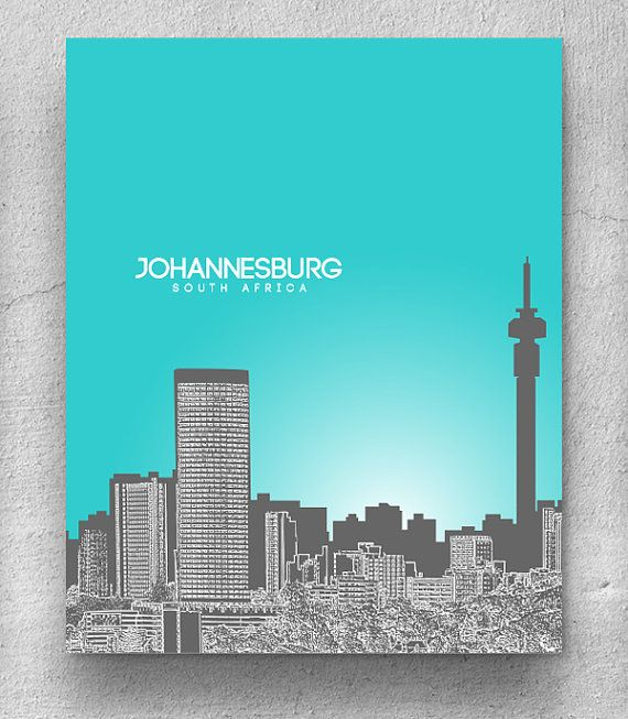 Johannesburg South Africa Skyline / Modern Décor Wall Poster / Any City or Landmark