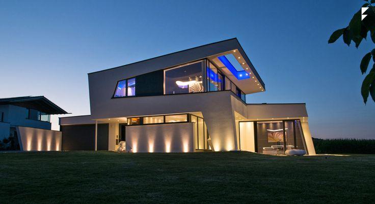 Haus bauen modern pultdach  Architektenhaus in Dingolfing bauen - Pultdach modern