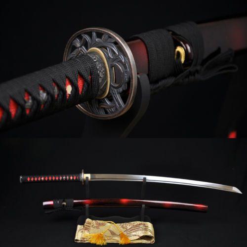 Japanese Samurai Sword Katana 1060HIGH Carbon Steel Full Tang Blade Can Cut Tree | eBay