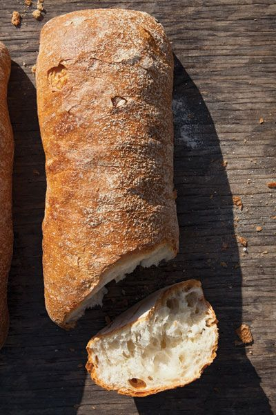 Filone This recipe, from Daniel Leader of Bread Alone, which has several locations in upstate New York, produces an airy loaf with a nice crust similar to a ciabatta. It's made with a lightly fermented traditional Italian starter, called a biga, that's started nine hours before baking.