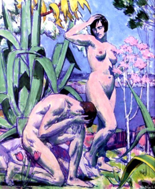 francis campbell boileau cadell (1883-1937)-adán y eva óleo sobre tabla-43cm x 38cm-colección privada