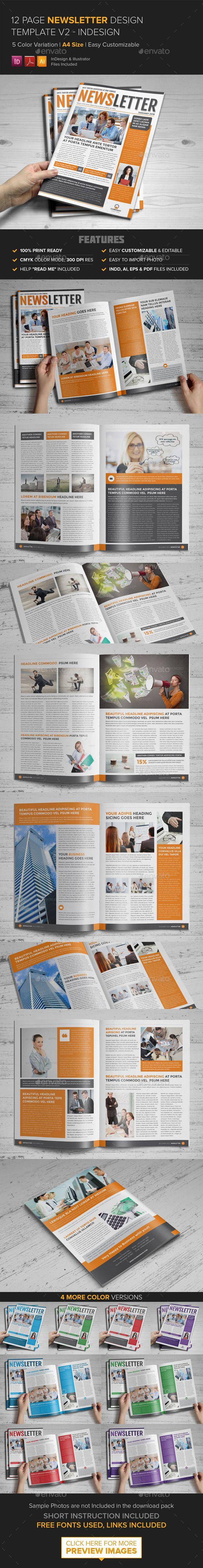 Newsletter Template v2 - InDesign - Newsletters Print Templates