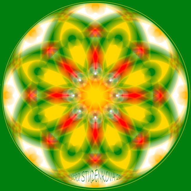 Mandala č.11 - Vánoční hvězda Mandala pro růst, rodinné teplo a vřelé vztahy zelená-růst  červená-energičnost a zdravá agresivita žlutá-rozjasnění, teplo počítačová grafika, rozměr 30x30 cm, laminováno jako ochrana proti UV záření dodáváno bez vodoznaku