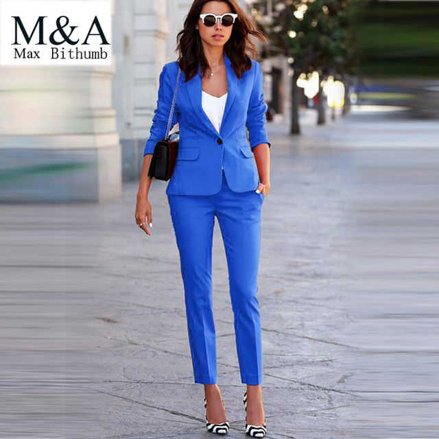 Women's Business Suits Formal Office pant Suits female Work wear 2 Piece Sets One Button Uniform Designs Blazer Suit Jacket Set US $60.49 Specifics Gender	Women Item Type	Pant Suits is_customized	Yes Clothing Length	Short Brand Name	Max Closure Type	Single Breasted Material	Cotton,Polyester Pant Closure Type	Button Fly Collar	Notched Sleeve Length	Full Material Composition	polyester Model Number	Max81299 material	cotton  Click to Buy :http://goo.gl/t9O329