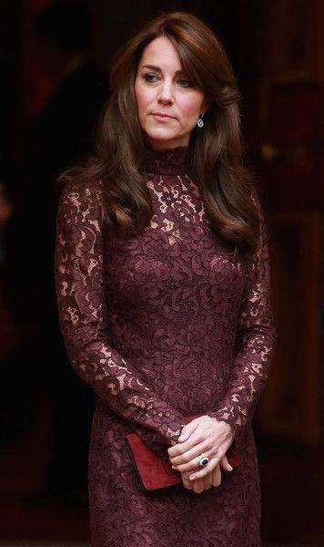 Catherine, Duchess of Cambridge walks out to welcome the President of the Peoples Republic of China, Mr Xi Jinping and his wife, Madame Peng Liyuan to a GREAT Britain Creative Event at Lancaster House on October 21, 2015 in London, England.: