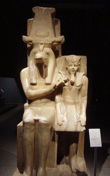 Statue of Amenhotep III and God Sobek c.1390-1352 BC. Carved from Calcite (Egyptian Alabaster) and was found in the the Sobek temple at Dahamsha during 1967 by workers digging of the Armant Canal.