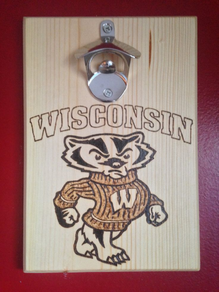 Wisconsin badgers wood burned bottle opener wall mounted w magnetic cap catcher